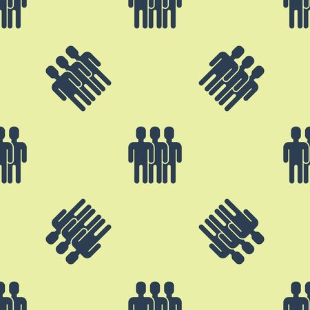 Blue Users group icon isolated seamless pattern on yellow background. Group of people icon. Business avatar symbol - users profile icon. Vector Illustration