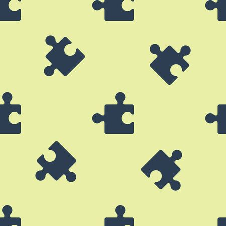 Blue Piece of puzzle icon isolated seamless pattern on yellow background. Modern flat, business, marketing, finance, internet concept. Vector Illustration