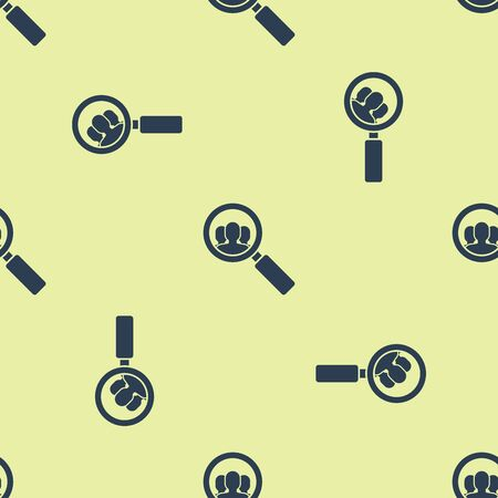 Blue Magnifying glass for search a people icon isolated seamless pattern on yellow background. Recruitment or selection concept. Search for employees and job. Vector Illustration