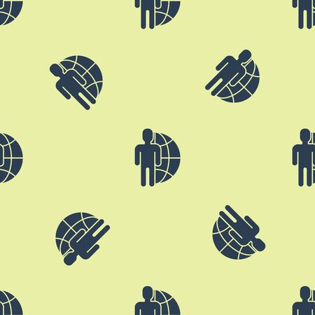 Blue Globe and people icon isolated seamless pattern on yellow background. Global business symbol. Social network icon. Vector Illustration