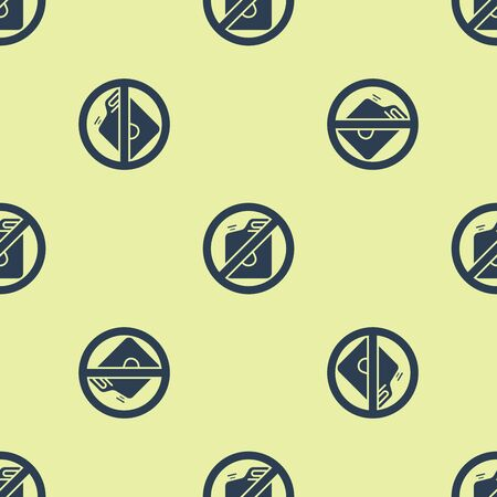 Blue No canister for gasoline icon isolated seamless pattern on yellow background. Diesel gas icon. Vector Illustration Foto de archivo - 129252359