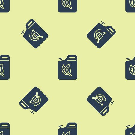 Blue Bio fuel canister icon isolated seamless pattern on yellow background. Eco bio and barrel. Green environment and recycle. Vector Illustration