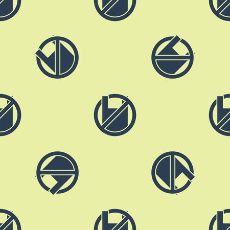 Blue Say no to plastic bags poster icon isolated seamless pattern on yellow background. Disposable cellophane and polythene package prohibition sign. Vector Illustration