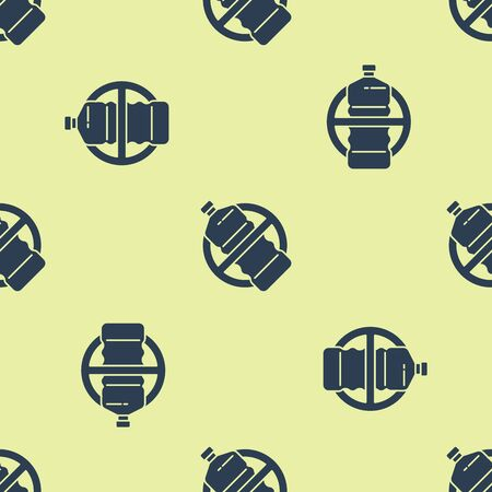 Blue No plastic bottle icon isolated seamless pattern on yellow background. Vector Illustration