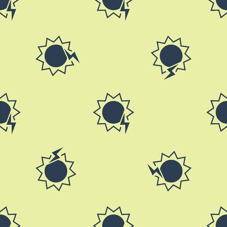 Blue Solar energy panel icon isolated seamless pattern on yellow background. Sun with lightning symbol. Vector Illustration