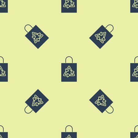 Blue Plastic bag with recycle icon isolated seamless pattern on yellow background. Bag with recycling symbol. Vector Illustration