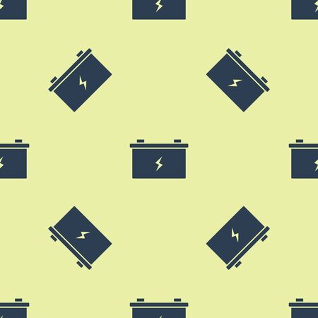 Blue Car battery icon isolated seamless pattern on yellow background. Accumulator battery energy power and electricity accumulator battery. Vector Illustration