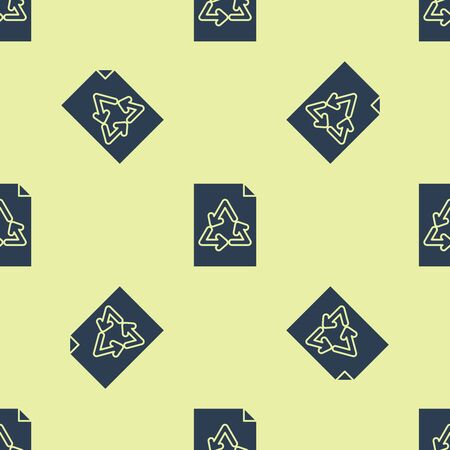 Blue Paper with recycle icon isolated seamless pattern on yellow background. Vector Illustration