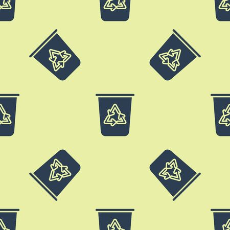 Blue Recycle bin with recycle symbol icon isolated seamless pattern on yellow background. Trash can icon. Garbage bin sign. Recycle basket sign. Vector Illustration 版權商用圖片 - 129252406