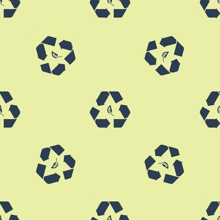 Blue Recycle symbol and leaf icon isolated seamless pattern on yellow background. Environment recyclable go green. Vector Illustration Ilustracja