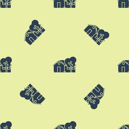 Blue Eco friendly house icon isolated seamless pattern on yellow background. Eco house with tree. Vector Illustration Foto de archivo - 129252404