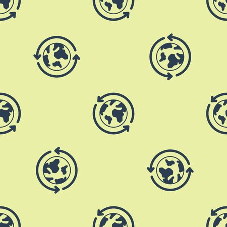 Blue Planet earth and a recycling icon isolated seamless pattern on yellow background. Environmental concept. Vector Illustration Illusztráció