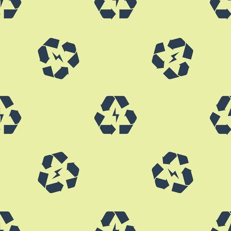 Blue Battery with recycle symbol line icon isolated seamless pattern on yellow background. Battery with recycling symbol - renewable energy concept. Vector Illustration