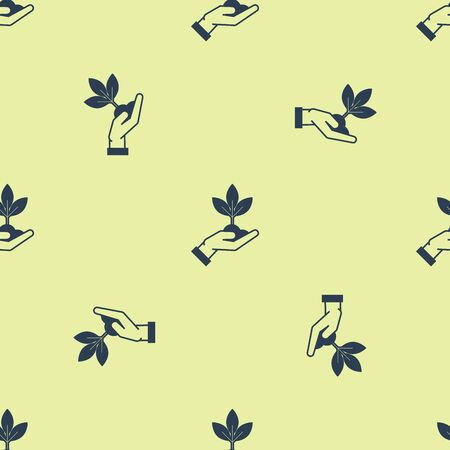 Blue Plant in hand of environmental protection icon isolated seamless pattern on yellow background. Seed and seedling. Planting sapling. Ecology concept. Vector Illustration