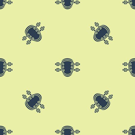 Blue Knee pads icon isolated seamless pattern on yellow background. Extreme sport. Sport equipment. Skateboarding, bicycle, roller skating protective gear. Vector Illustration