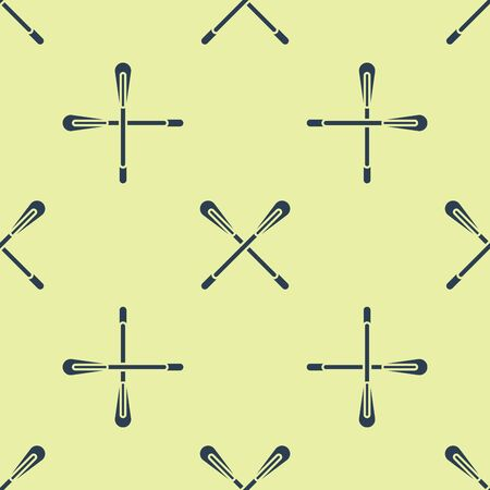 Blue Crossed paddle icon isolated seamless pattern on yellow background. Paddle boat oars. Vector Illustration