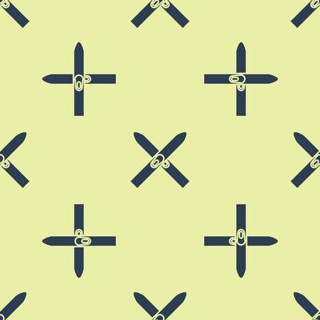 Blue Ski and sticks icon isolated seamless pattern on yellow background. Extreme sport. Skiing equipment. Winter sports icon. Vector Illustration Stock Illustratie