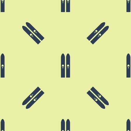 Blue Ski and sticks icon isolated seamless pattern on yellow background. Extreme sport. Skiing equipment. Winter sports icon. Vector Illustration Archivio Fotografico - 129252436