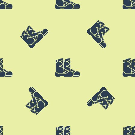 Blue Boots icon isolated seamless pattern on yellow background. Vector Illustration
