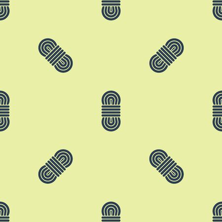 Blue Climber rope icon isolated seamless pattern on yellow background. Extreme sport. Sport equipment. Vector Illustration Иллюстрация