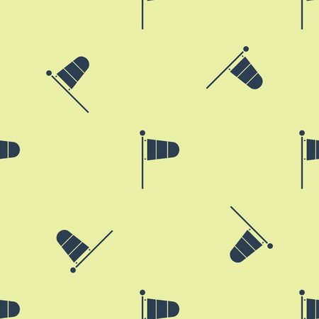 Blue Cone meteorology windsock wind vane icon isolated seamless pattern on yellow background. Windsock indicate the direction and strength of the wind. Vector Illustration