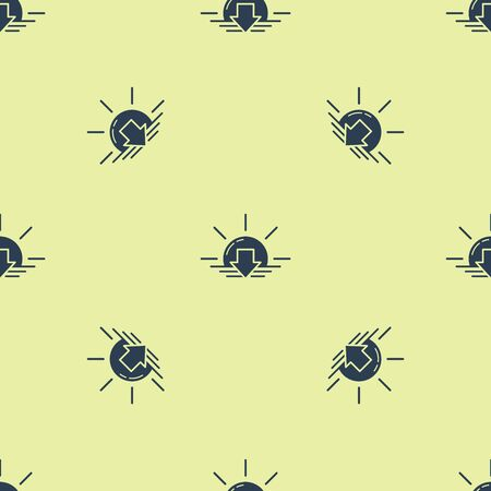 Blue Sunset icon isolated seamless pattern on yellow background. Vector Illustration