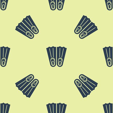 Blue Rubber flippers for swimming icon isolated seamless pattern on yellow background. Diving equipment. Extreme sport. Sport equipment. Vector Illustration Illusztráció