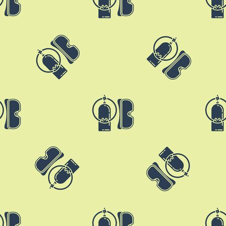Blue Diving mask and aqualung icon isolated seamless pattern on yellow background. Oxygen tank for diver. Extreme sport. Sport equipment. Vector Illustration