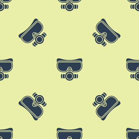 Blue Diving mask icon isolated seamless pattern on yellow background. Extreme sport. Sport equipment. Vector Illustration Illusztráció