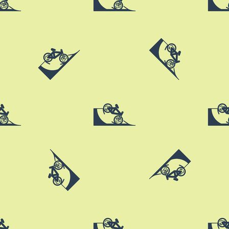 Blue Bicycle on street ramp icon isolated seamless pattern on yellow background. Skate park. Extreme sport. Sport equipment. Vector Illustration Ilustracja