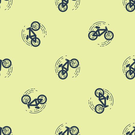 Blue Bicycle trick icon isolated seamless pattern on yellow background. Bike race. Extreme sport. Sport equipment. Vector Illustration Illusztráció
