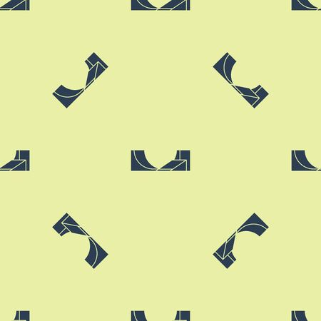 Blue Skate park icon isolated seamless pattern on yellow background. Set of ramp, roller, stairs for a skatepark. Extreme sport. Vector Illustration