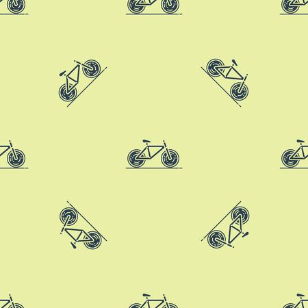 Blue Bicycle icon isolated seamless pattern on yellow background. Bike race. Extreme sport. Sport equipment. Vector Illustration