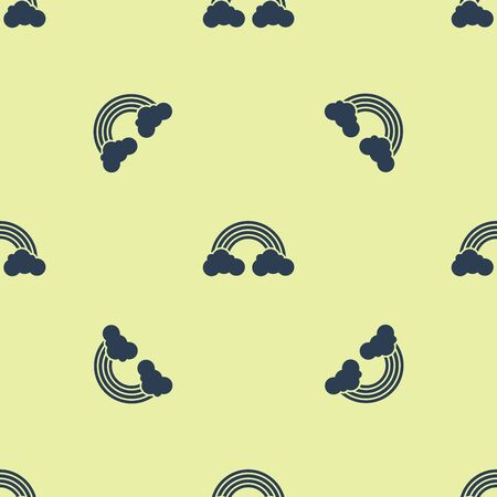 Blue Rainbow with clouds icon isolated seamless pattern on yellow background. Vector Illustration