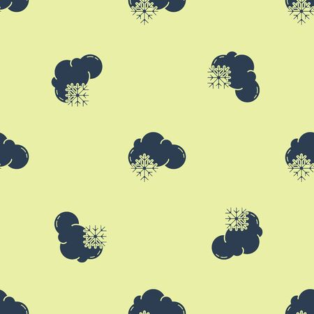 Blue Cloud with snow icon isolated seamless pattern on yellow background. Cloud with snowflakes. Single weather icon. Snowing sign. Vector Illustration