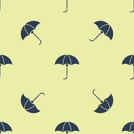 Blue Classic elegant opened umbrella icon isolated seamless pattern on yellow background. Rain protection symbol. Vector Illustration