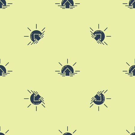 Blue Sunrise icon isolated seamless pattern on yellow background. Vector Illustration