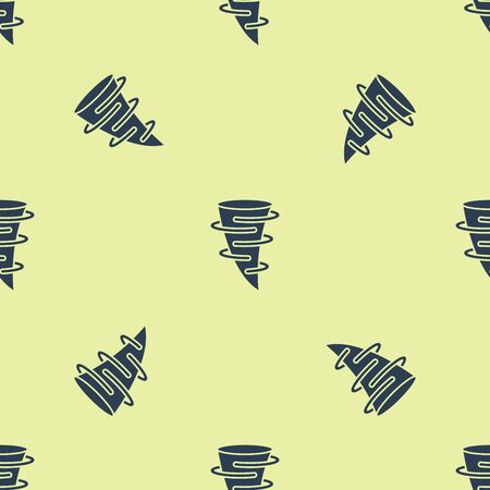 Blue Tornado icon isolated seamless pattern on yellow background. Vector Illustration Illusztráció