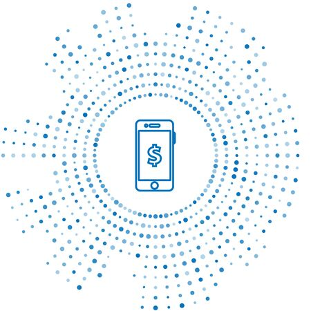 Blue line Smartphone with dollar symbol icon isolated on white background. Online shopping concept. Financial mobile phone icon. Online payment. Abstract circle random dots. Vector Illustration Ilustrace