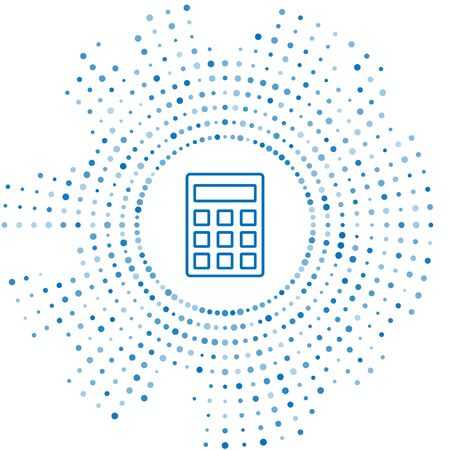 Blue line Calculator icon isolated on white background. Accounting symbol. Business calculations mathematics education and finance. Abstract circle random dots. Vector Illustration