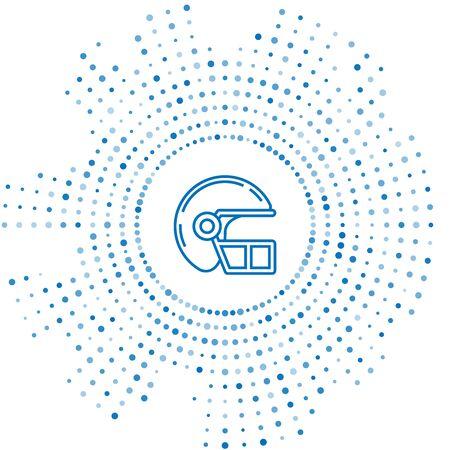 Blue line American football helmet icon isolated on white background. Abstract circle random dots. Vector Illustration Standard-Bild - 129252559