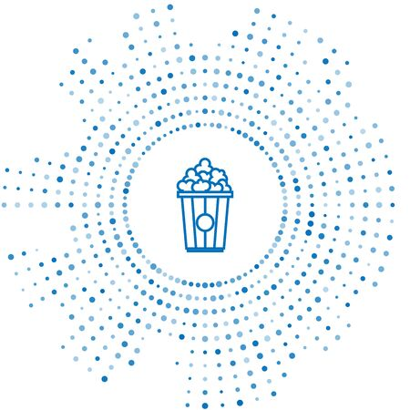 Blue line Popcorn in cardboard box icon isolated on white background. Popcorn bucket box. Abstract circle random dots. Vector Illustration