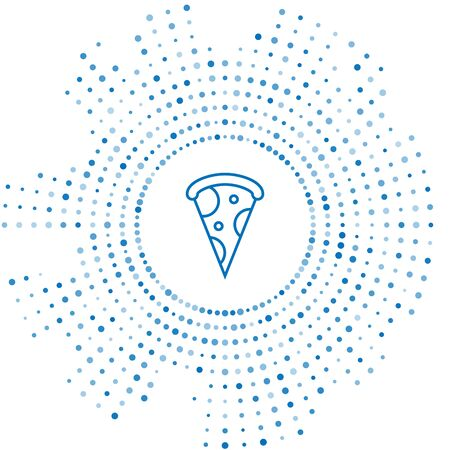Blue line Slice of pizza icon isolated on white background. Fast food menu. Abstract circle random dots. Vector Illustration Фото со стока - 129252582