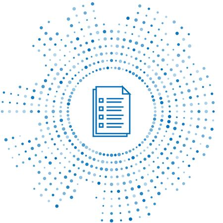 Blue line File document icon isolated on white background. Checklist icon. Business concept. Abstract circle random dots. Vector Illustration