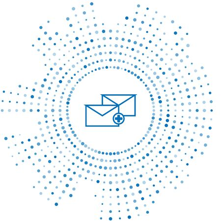 Blue line Envelope icon isolated on white background. Received message concept. New, email incoming message, sms. Mail delivery service. Abstract circle random dots. Vector Illustration Foto de archivo - 129230923