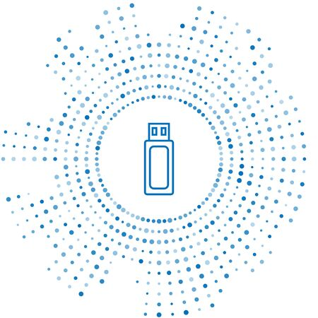 Blue line USB flash drive icon isolated on white background. Abstract circle random dots. Vector Illustration