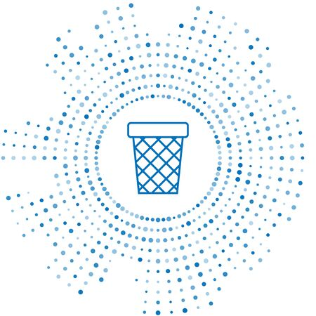 Blue line Trash can icon isolated on white background. Garbage bin sign. Recycle basket icon. Office trash icon. Abstract circle random dots. Vector Illustration 向量圖像