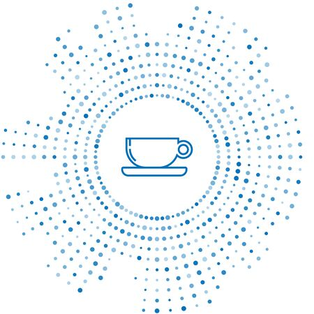 Blue line Coffee cup flat icon isolated on white background. Tea cup. Hot drink coffee. Abstract circle random dots. Vector Illustration