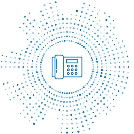 Blue line Telephone icon isolated on white background. Landline phone. Abstract circle random dots. Vector Illustration Ilustração