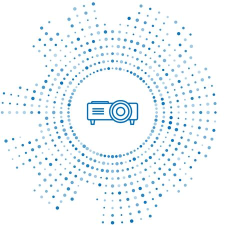 Blue line Presentation, movie, film, media projector icon isolated on white background. Abstract circle random dots. Vector Illustration